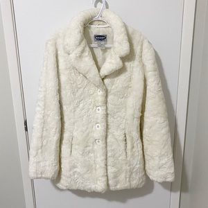 Vtg Brody Button Front Plush Sherpa Teddy Pea Coat Jacket, Cream - Large